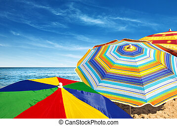 Colorful Sunshades - Detail of colorful sunshades in the...