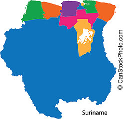 Colorful Suriname map - Administrative divisions of Suriname