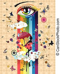 Colorful Surreal Fairy - Abstract eye in rainbow colors and...