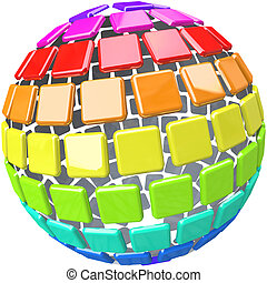 Colorful Swatches in Globe Sphere Pattern