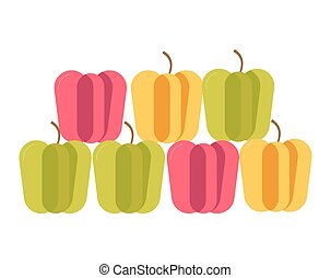 Colorful sweet Bulgarian peppers stand in neat rows isolated...