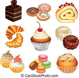 colorful sweet cakes vector set