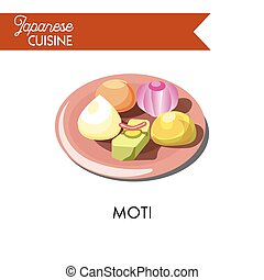 Colorful sweet moti on shiny ceramic plate isolated illustration