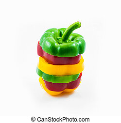 colorful sweet peppers sliced