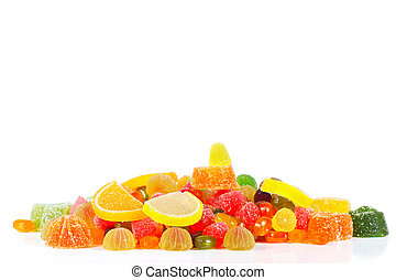 Colorful sweets and jelly isolated on white background