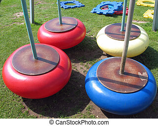 Colorful swings in a playground