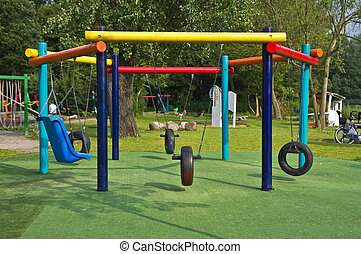Colorful swings in public park