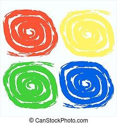 Colorful swirls brush strokes.