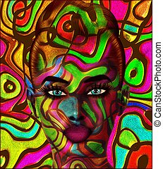 Colorful swirls face.