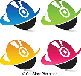 Colorful Swoosh Disc Icons