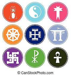 Colorful Symbolic Religious Symbols Vector Illustration