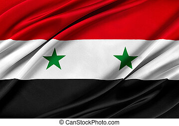 Colorful Syria flag waving in the wind. 3D illustration.