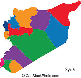 Colorful Syria map - Map of administrative divisions of ...