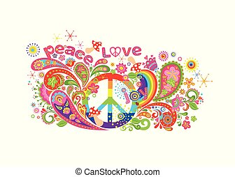 Colorful T-shirt design with hippie peace symbol, abstract flowers, mushrooms, paisley and rainbow on white background