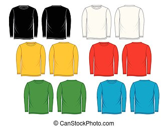 Colorful t-shirt template long-Sleeve, front, back, isolated...