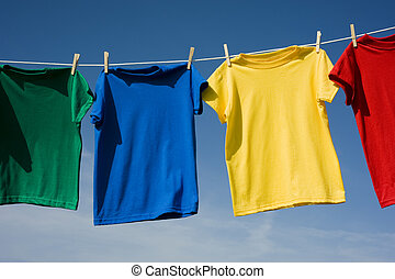 Colorful T-Shirts on blue sky