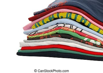 Colorful t-shirts - pile of colorful t-shirts isolated on...