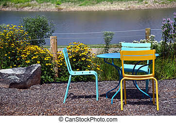 Colorful Table and Chairs for Riverfront Dining
