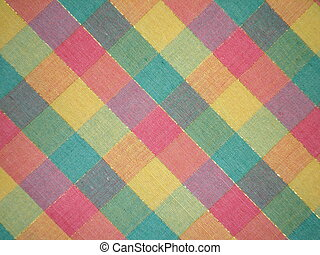 Colorful tablecloth with plaid pattern