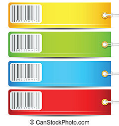 illustration of set of colorful tag with barcode sticker