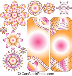 Colorful tags and flowers - vector
