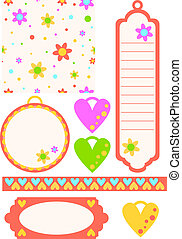 colorful tags, hearts, pattern
