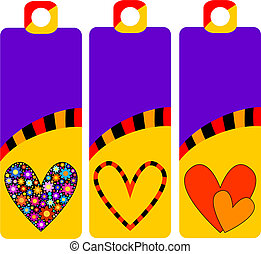 colorful tags or labels with hearts