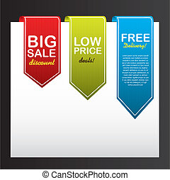 colorful tags over paper isolated over black background. ...