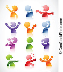 Colorful talking characters - Set of colorful talking...