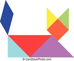 Colorful tangram puzzle in cat shape on white background (vector)