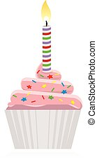 cupcake with lit candle