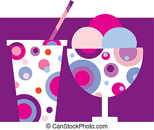 colorful tasty ice-cream and milk shake - 1