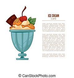 Colorful tasty ice cream. Ice cream cafee poster or menu...