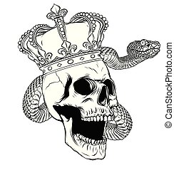 Colorful Tattoo design with skull and snake. illustration.