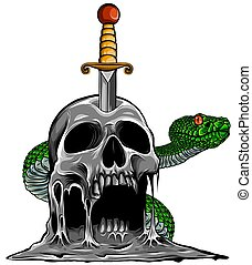 Colorful Tattoo design with skull and snake. vector illustration.