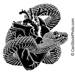 Colorful tattoo snake around heart vector illustration