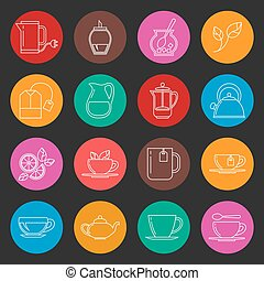 Colorful tea thin line vector icons set