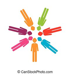 colorful team of executives in abstract figure human