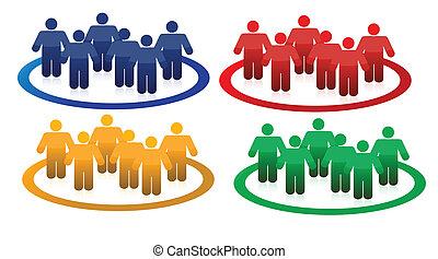 Colorful teams illustration design