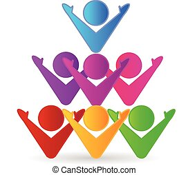 Colorful teamwork business, social and happiness people or unity children concept symbols vector icons