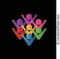 Colorful teamwork business logo