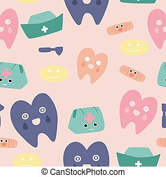 Colorful teeth and medical instruments in a seamless pattern design