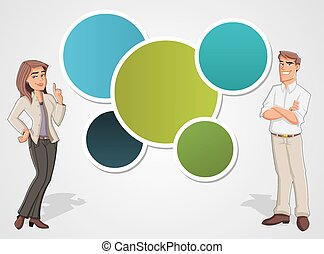 Colorful template with cartoon business man and woman. Presentation screen.