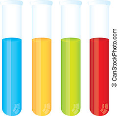 test tube - colorful test tube isolated over white ...