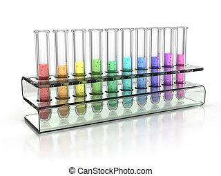 colorful test tubes 3d illustration
