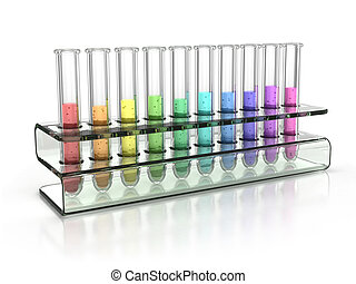 colorful test tubes 3d illustration