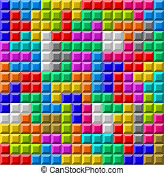 Colorful Tetris board background - Vector illustration of...