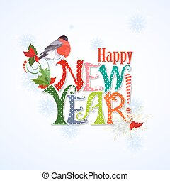 colorful text. Happy new year. template for your design