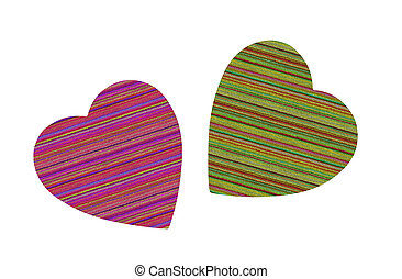 Colorful textile hearts isolated on white background