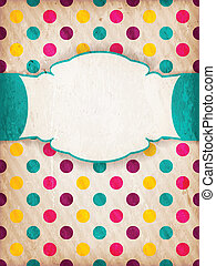 Colorful textured polka dot design with label